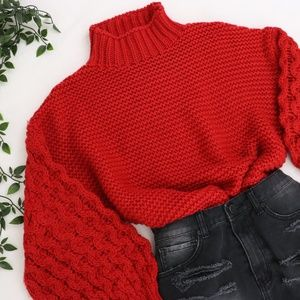 Sweaters - Red Thick Chunky Knit Pullover Sweater